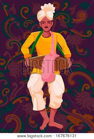 Vector design of artist playing Khol folk music of India on floral background