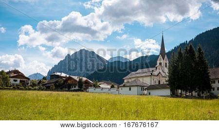 summer village in Val Gardena South Tirol, Dolomites mountains, Italy