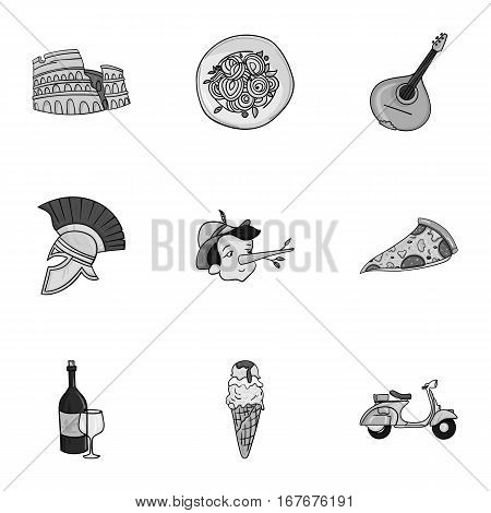 Italy country set icons in monochrome design. Big collection of Italy country vector symbol stock illustration