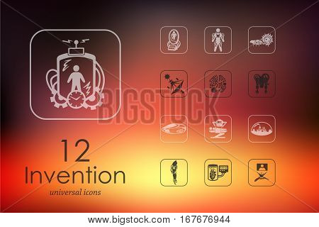 invention modern icons for mobile interface on blurred background