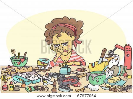 Depressed, sad and stressed woman sitting at messy table full with pastries items and ingredients