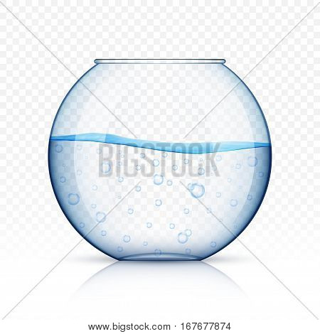 Realistic glass fish bowl aquarium with water on transparent background