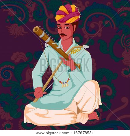Vector design of artist playing Ravanahatha folk music of India on floral background