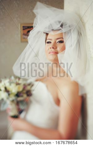 Bride Looks Wonderful Being Covered With A Veil