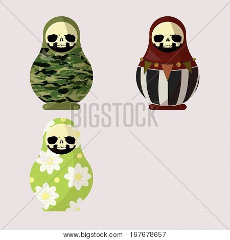 vector illustration set of scary dolls. collection of cute dolls