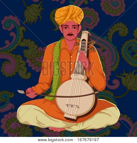 Vector design of Manganiar artist playing Kamaicha folk music of Rajasthan India on floral background