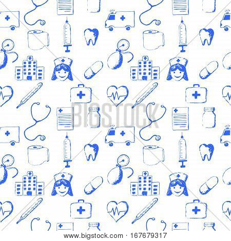 Seamless pattern-medical items. This illustration is drawn with a pencil.