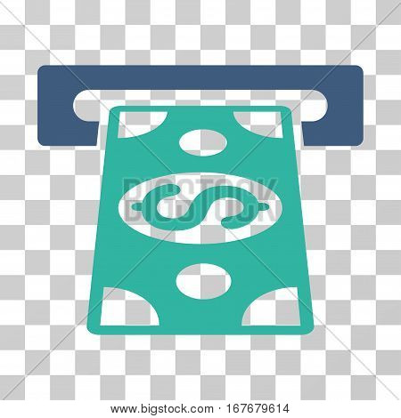 Cash Withdraw icon. Vector illustration style is flat iconic bicolor symbol cobalt and cyan colors transparent background. Designed for web and software interfaces.