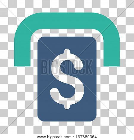 Cashpoint icon. Vector illustration style is flat iconic bicolor symbol cobalt and cyan colors transparent background. Designed for web and software interfaces.