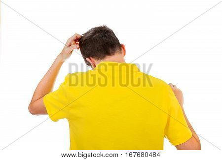 Rear View of Man Scratching his Head Isolated on the White Background