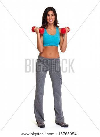 Athletic girl with dumbbells.