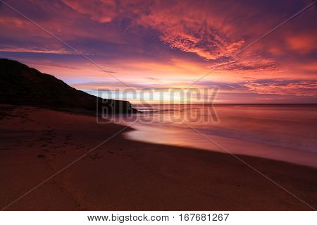 The iconic Bells Beach on a summer morning at sunrise near Torquay, Victoria, Australia