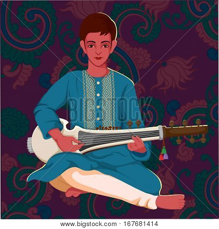 Vector design of artist playing Sarod folk music of India on floral background