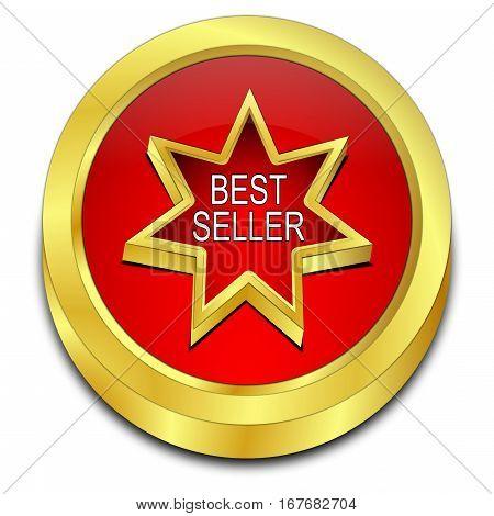 golden red Bestseller button - 3D illustration
