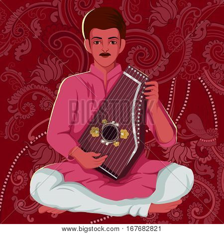 Vector design of artist playing Swarmandal folk music of India on floral background