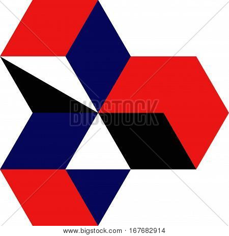 Vector illustration of colorful cubes and triangles. Cubes of blue, red and black. Triangles blue and black.