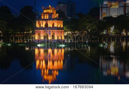 Turtle Tower, The Symbol Of Vietnam, At Twilight Period At Hoan Kiem Lake (ho Guom Or Sword Lake)