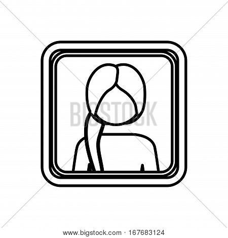 contour square border with silhouette half body ponytail woman vector illustration