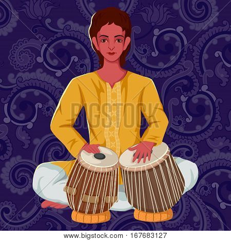 Vector design of artist playing Tabla folk music of India on floral background