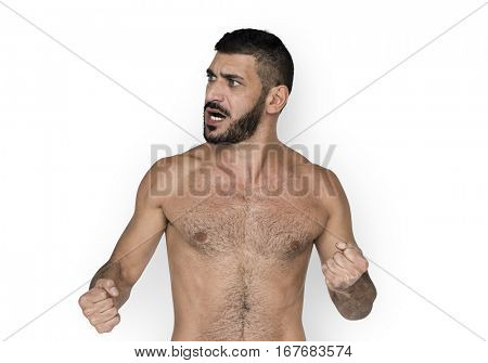 Caucasian White Man Topless Angry