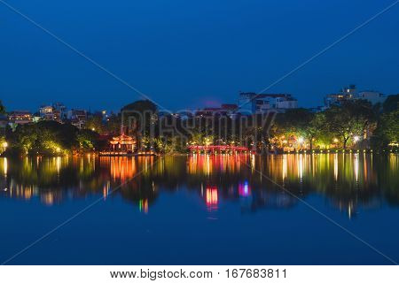 Hoan Kiem Lake View At Twilight With Ngoc Son Old Temple And The Huc Bridge. Hoan Kiem Lake (sword L