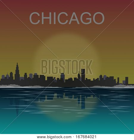Chicago skyline reflected at sunset vector illustration.