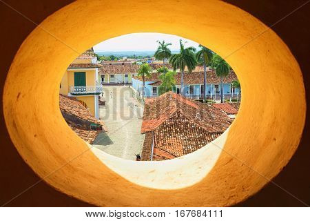 view from oval window of Trinidad bell tower . Cuba.