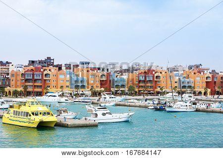 Hurghada, Egypt - November 13, 2016: Marina bay in Hurghada, Egypt, November 13, 2016