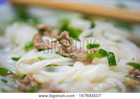 Close-up View Of Vietnamese Noodle Soup Named Pho. Pho Is The Most Famous Food In Vietnam