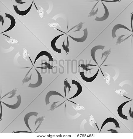 Abstract black and white petal pattern. Simple grey leafy texture background. Seamless illustration.