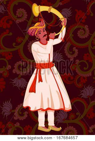 Vector design of artist playing Tutari folk music of India on floral background