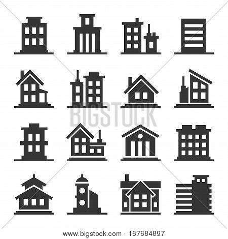 Building Icons Set on White Background. Vector illustration