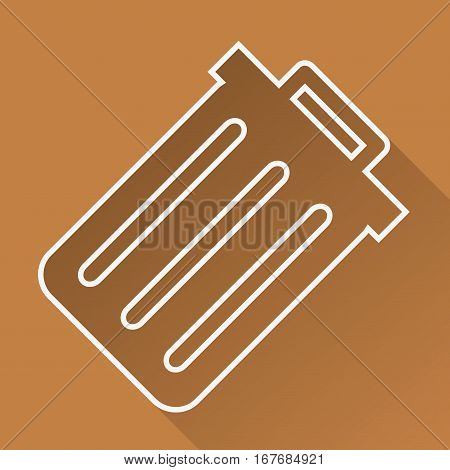 Trashcan flat linear long shadow icon. Dustbin. Trash bin. Vector line symbol.