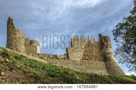 Old walls of medieval Montsoriu Castle. in the Montseny Natural Park Catalonia Spain