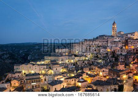 Matera (Basilicata Italy) Sasso Barisano at twilight