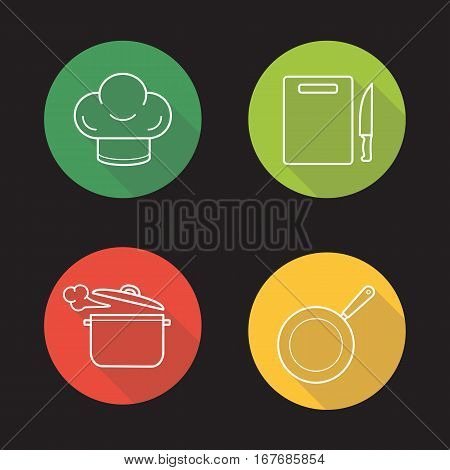 Kitchenware cooking items. Flat linear long shadow icons set. Chef's hat, cutting board with knife, steaming saucepan, frying pan. Vector line illustration