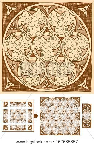 Seamless celtic spirals patterns in ink hand drawn style. Pattern is composed of 9 elements. Central can be copied and pasted endless. Borders and corners are for beautiful framing of the ornament.