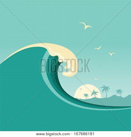 Big Ocean Wave And Tropical Island.vector Poster Background