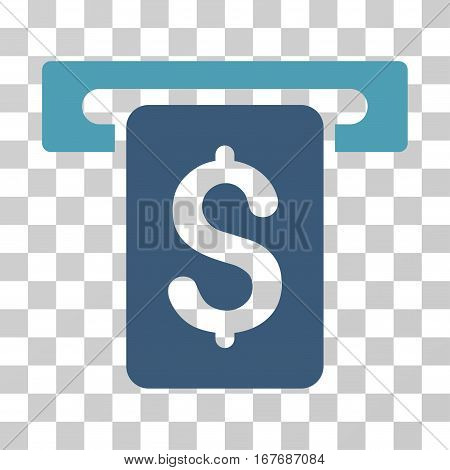 Cash Withdraw icon. Vector illustration style is flat iconic bicolor symbol cyan and blue colors transparent background. Designed for web and software interfaces.