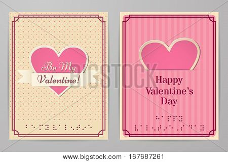 Valentine cards with text braille. Retro, vintage design backgrounds stripes and in the circle. Country style. Vector graphic.