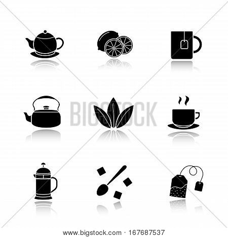 Tea drop shadow black icons set. Cutted lemon, steaming cup on plate, brewer, teapot, loose tea leaves, teabag, refined sugar cubes with spoon, kettle, mug. Isolated vector illustrations