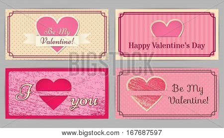 Valentine cards. Retro, vintage design backgrounds stripes, scratched and in the circle. Country style. Vector graphic.
