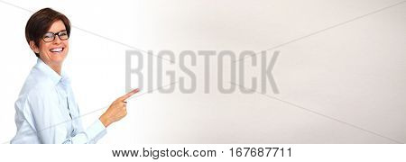 Woman presenting copy space.