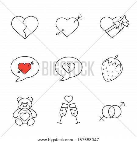 Valentine's Day linear icons set. Heartbreak, heart with arrow, candies box, teddy bear, champagne, sex and erotic signs, love chatting. Thin line contour symbols. Isolated vector illustrations