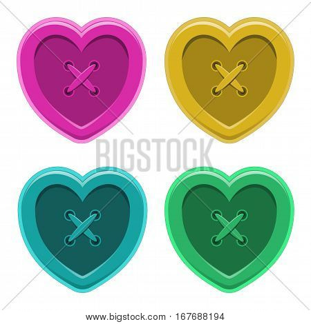 Buttons sewing silhouette hearts set vintage style shirt clothing vector illustration colorful isolated object