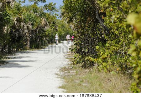Sanibel Island Florida USA - February 25, 2011: Cyclists riding sandy trail through Ding Darling National Wildlife Refuge