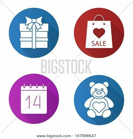 Valentines Day flat design long shadow icons set. Teddy bear, February 14, gift box, Valentines Day sale. Vector silhouette illustration