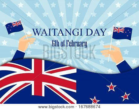 Waitangi Day. Hand Holds A New Zealand Flag, Independence Day. Vector Illustration