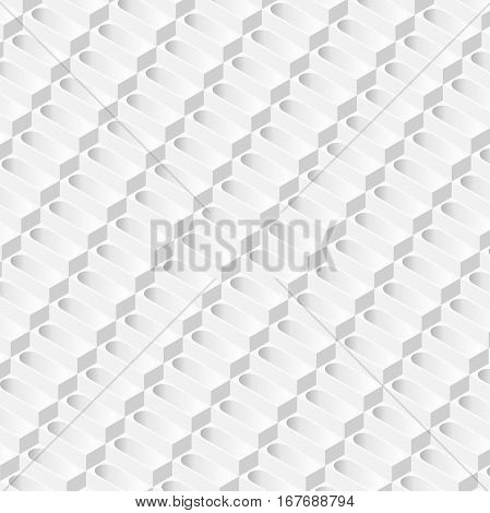 Abstract white background 3d prisms formed in the isometric perspective. Vector-neutral basis, white rear scene in gray tones. Bright geometric texture composed of the bath.