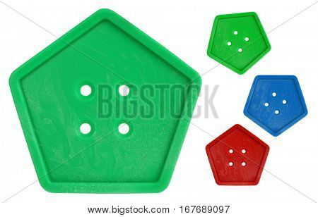 Button pentagonal colorful macro with colors variations